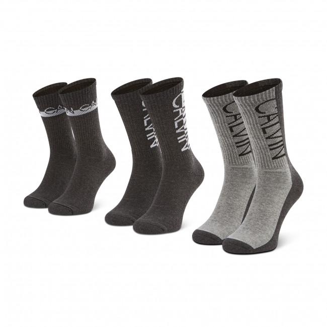 Súprava 3 párov vysokých ponožiek pánskych CALVIN KLEIN JEANS - 100002996 r.OS Dark Grey Melange 003