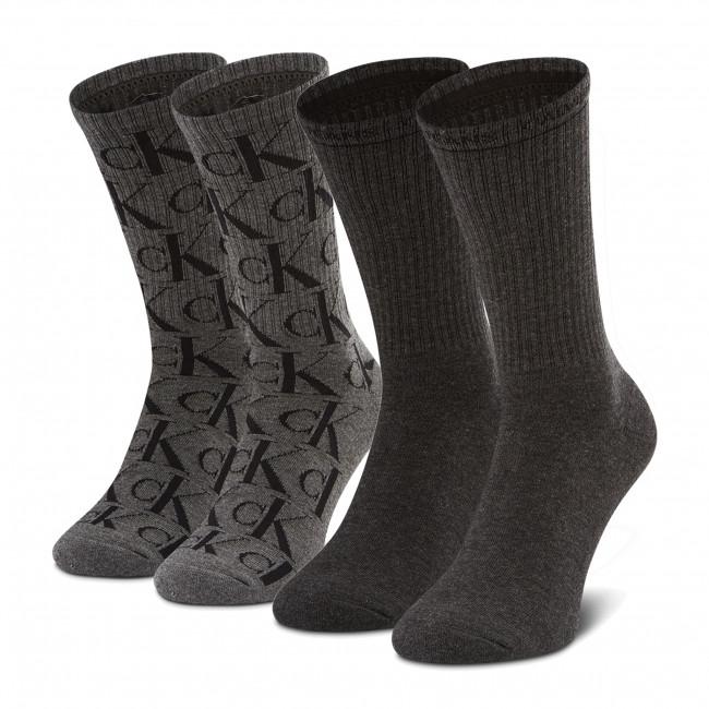 Súprava 2 párov vysokých ponožiek unisex CALVIN KLEIN JEANS - 100002997 r.OS Grey/Black 002