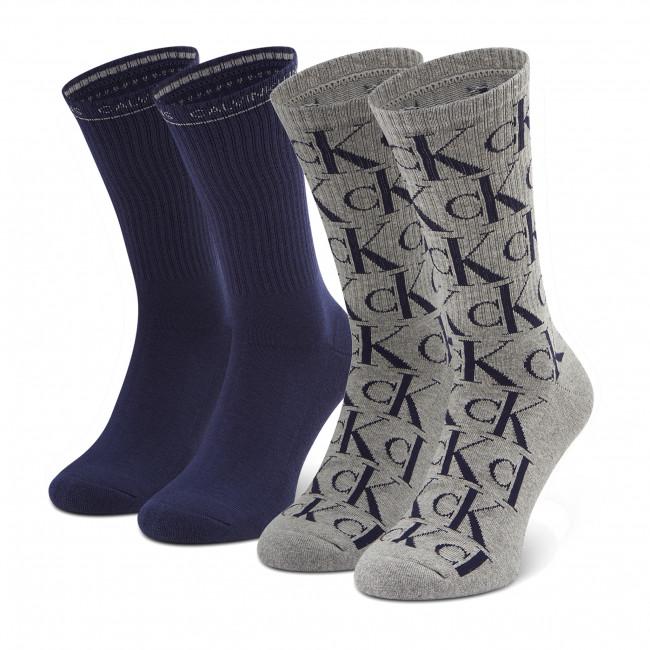 Súprava 2 párov vysokých ponožiek unisex CALVIN KLEIN JEANS - 100002997 r.OS Grey/Blue 003