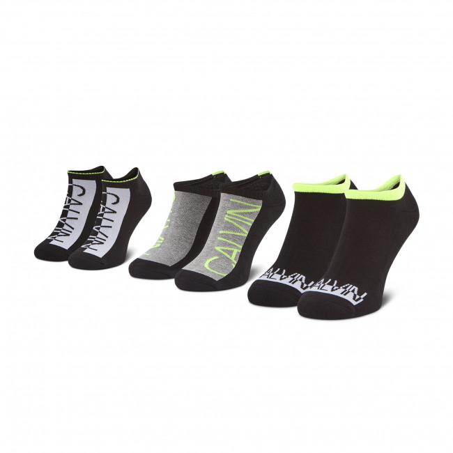 Súprava 3 párov kotníkových ponožiek pánských CALVIN KLEIN JEANS - 100003001 Black Combo 001