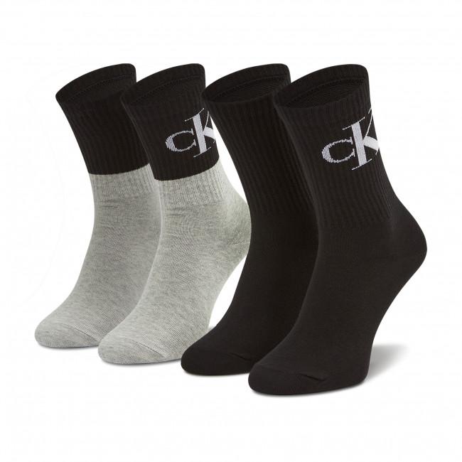 Súprava 2 párov vysokých ponožiek dámskych CALVIN KLEIN JEANS - 100003020  Grey/Black 002