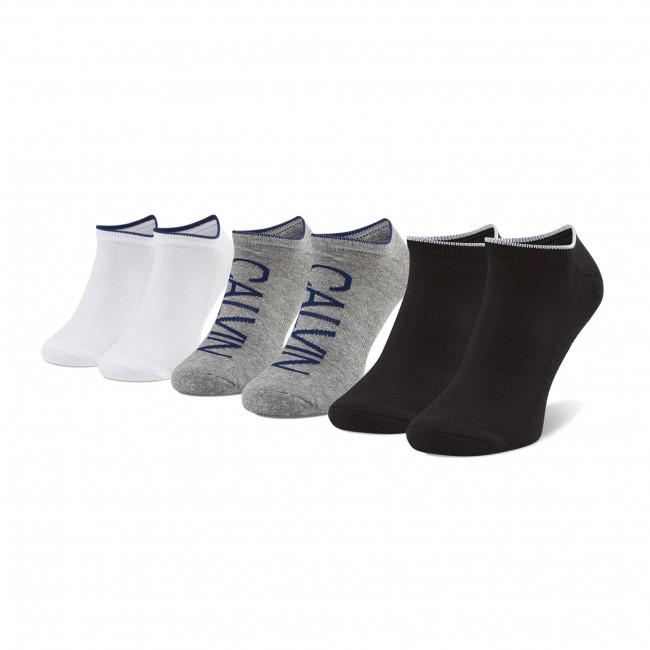 Súprava 3 párov kotníkových ponožiek pánských CALVIN KLEIN - 100003017 Grey/White/Black 003