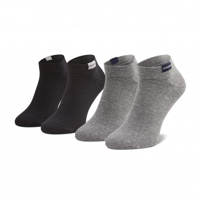 Súprava 2 párov kotníkových ponožiek pánských CALVIN KLEIN JEANS - 100001870  Grey Combo 005