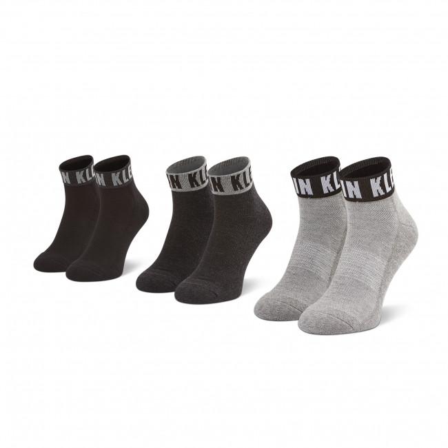 Súprava 3 párov krátkych ponožiek pánskych CALVIN KLEIN - 100001880 r.OS Grey Combo 003