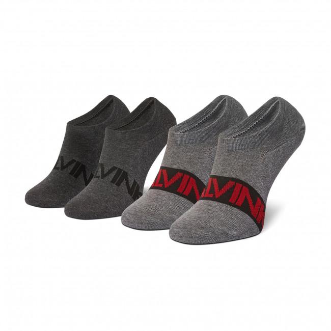 Súprava 2 párov krátkych ponožiek pánskych CALVIN KLEIN - 100003016 Grey Melange 005