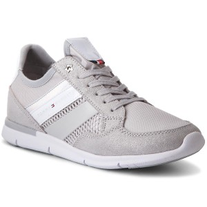 Sneakersy TOMMY HILFIGER - Metallic Light Weight Sneaker FW0FW02996 Diamond  Grey 001 dfb1a76564
