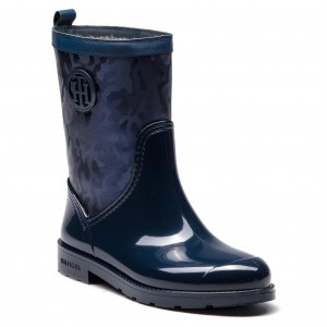 Gumáky TOMMY HILFIGER - Shiny Camo Rain Boot FW0FW03318 Tommy Navy 406 6a053840d94
