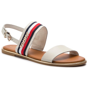4329fd7d415de Sandále TOMMY HILFIGER - Flat Sandal Corporate Ribbon FW0FW04049 Whisper  White 121