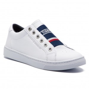 Sneakersy TOMMY HILFIGER - Tommy Elastic City Sneaker FW0FW04019 White 100 97bcf23d254