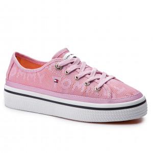 Tenisky TOMMY HILFIGER - Jacquard Flatform Sneaker FW0FW04071 Pink Lavender  518 fb2a49743a