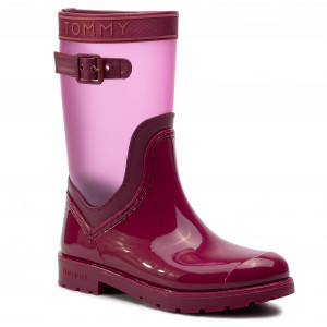 7c253052fad8c Gumáky TOMMY HILFIGER - Translucent Detail Rain Boot FW0FW04126 Beet Red 522