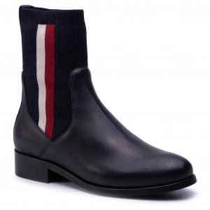 356f9a4561b3b Členková obuv TOMMY HILFIGER - Knitted Flat Boot FW0FW04156 Midnight 403
