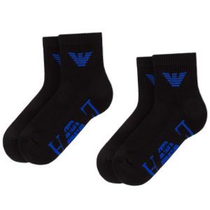 41cc4061f1 Súprava 2 párov vysokých ponožiek pánskych EMPORIO ARMANI 303222 9P300  01520 r.39 46 Nero Bluette